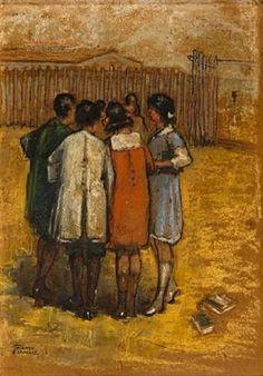 Theofrastos Triantafyllidis (Greek, The friends 46 x 32 cm. Greece Painting, Art Paintings For Sale, Post Impressionism, Oil Painters, Greek Art, 10 Picture, Art Database, Winter Scenes, Art World