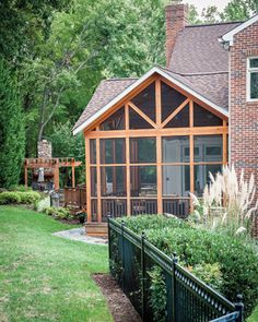 connecting the screen porch to house with interesting rooflines and ceiling
