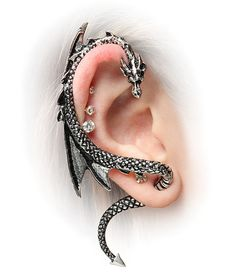 Let A Dragon Be Your Guide: Dragon Ear Wrap Ear be dragons! This Dragon Ear Wrap is just about the coolest piece of jewelry ever. This gleaming reptile curves around your ear and whispers all of his secrets and magical advice just to you. Ear Jewelry, Cute Jewelry, Jewelry Box, Jewelry Accessories, Body Jewelry, Steel Jewelry, Women Accessories, Gothic Earrings, Stud Earrings