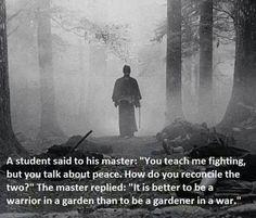 O estudante disse ao mestre: Você me ensina a lutar, mas fala em paz. Como conciliar os dois? O mestre respondeu: É melhor ser um guerreiro em um jardim, do que um jardineiro em uma guerra.