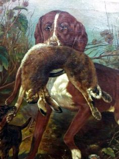 Antique Old 19th Century Oil Painting Dog Rabbit Hunting Landscape Artist Signed #Realism