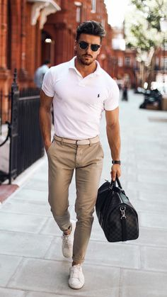 White Polo Shirt Outfit Ideas For Men #poloshirt #shirt #outfitideas #mensfashion #streetstyle