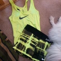 Pinterest: @tahliabaaum Nike pro shorts and bright tank