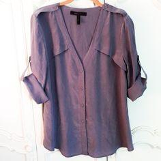 BCBGMaxAzria silk top BCBGMaxAzria 100% silk button down blouse in plum. BCBGMaxAzria Tops