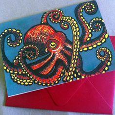 Octopus Card by PufferfishPress on Etsy, $4.00