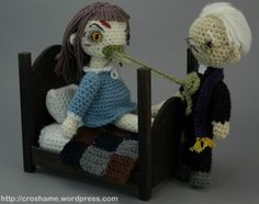 INSPIRATION ONLY - No pattern - THE EXORCIST Crochet Playset..   I like the bed