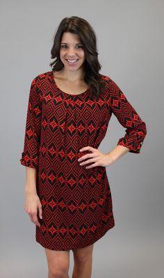 Red And Black Diamond Shift #shopacutabove #diamond #shift #dress