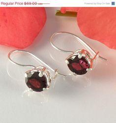 Christmas in July CIJ Sterling Silver Garnet Earrings, Red Garnet Jewelry, Gemstone Silver Earrings, Round Faceted Garnet Earrings