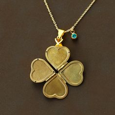 mother's Day gift vintage heart locket Necklaces Family locket, Four Photos Heart Locket, Clover locket, Swarovski BirthStone, gift for mom