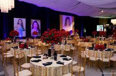 decoração dourado e vermelho