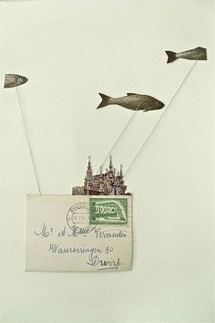 Éireann Lorsung/ohbara - Completely out of water collage Collages, Mixed Media Collage, Collage Art, Collage Illustration, Photocollage, Art Textile, Fish Art, Mail Art, Surreal Art