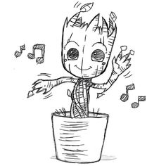Dancing Groot by Banzchan on deviantART-this person does really awesome drawings. Sketchbook Drawings, Cool Art Drawings, Doodle Drawings, Easy Drawings, Doodle Art, Drawing Sketches, Marvel Drawings, Disney Drawings, Cartoon Drawings