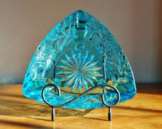 Blue Glass Ashtray Dish, Hazel Atlas Pinwheel Turquoise Aqua Capri Teal EAPG Triangle Candy Dish, Key Holder, Candle Dish
