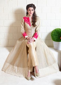 Beige Silk Designer Anarkali Suit 70229