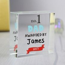 What better gift can the kids give to their dad this Father's Day than this personalised No.1 Awarded By Medium Crystal Token  Personalise with a role up to 12 characters and then the senders name(s) up to 12 characters followed by a year up to 4 characters in length.  The words 'no.1' and 'AWARDED BY' are fixed.  Comes beautifully presented in a black gift box for only £14.99