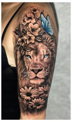 Animal Tattoos For Women, Dope Tattoos For Women, Shoulder Tattoos For Women, Sleeve Tattoos For Women, Back Shoulder Tattoos, Lion Shoulder Tattoo, Tattoo Women, Lion Forearm Tattoos, Hip Thigh Tattoos