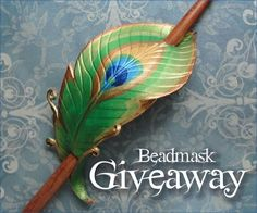 Win a Peacock Hair Slide from Beadmask on Etsy at http://blog.aquariann.com/2012/05/giveaway-peacock-hair-slide-by-beadmask.html