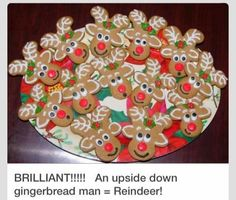 Reindeer cookies made from upsidedown gingerbread man cut out!  I'm going to make these!