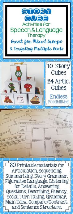 These story cube activities cover a variety of speech and language goals, which makes them GREAT for mixed groups! CHECK OUT HOW MANY DIFFERENT WAYS THEY CAN BE USED!