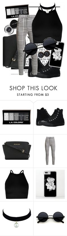 """Everyday Outfit"" by daeix001 ❤ liked on Polyvore featuring Converse, MICHAEL Michael Kors, Bobbi Brown Cosmetics, Balmain and Boohoo"