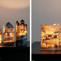 Make a little paper town at night !