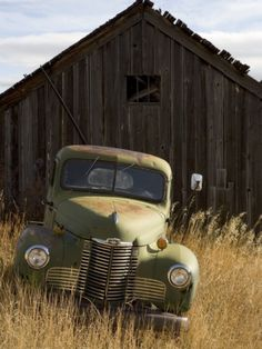 """abandoned pick-up truck in front of an old shed, marysville,montana"" 