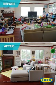 in the latest IKEA Home Tour makeover, the Squad transforms this living room space into one with plenty of flexible seating, storage for toys and a place for the kids to play.