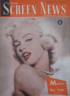 New Screen News - September 21st 1956, magazine from Australia. Front cover photo of Marilyn Monroe by Frank Powolny, 1953.