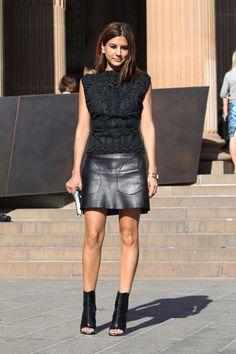 Spectacular. Centenera in Dries Van Noten top, Celine skirt, Balenciaga ankle boots