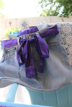 Denim Bag with purple satin bow and liner purple jean purse