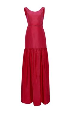 Silk Faille Seamed Scoop Gown With Tailor Bow Belt by  for Preorder on Moda Operandi