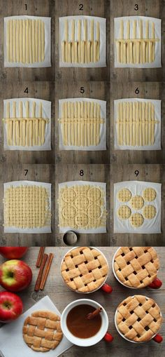 Such a fantastic idea! Weave strips of pie crust together then cut them into circles with a cookie/biscuit cutter and top mini cupcake-sized pies with them.