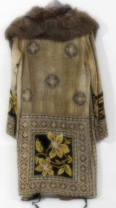 Martha Weathered (Chicago) embroidered coat with fur collar, c. 1930s.