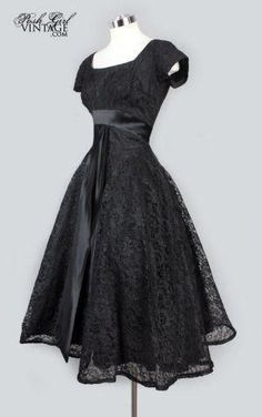 Black Lace Tea Length Evening Party Dress (the real little black dress) Dresses Elegant, 50s Dresses, Pretty Dresses, Vintage Dresses, Beautiful Dresses, Evening Dresses, Vintage Outfits, 1950s Party Dresses, 1950s Fashion Dresses