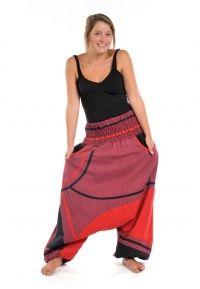 Sarouel grande taille femme épais Crazy red  - K1662 - 100% pur coton épais du Népal.