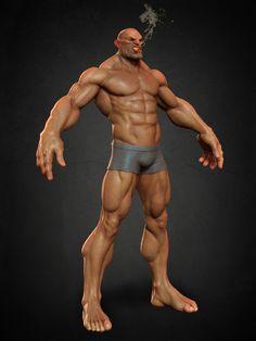 Exaggerated Human Anatomy Study, Christian Gallego on ArtStation at https://www.artstation.com/artwork/exaggerated-human-anatomy-study