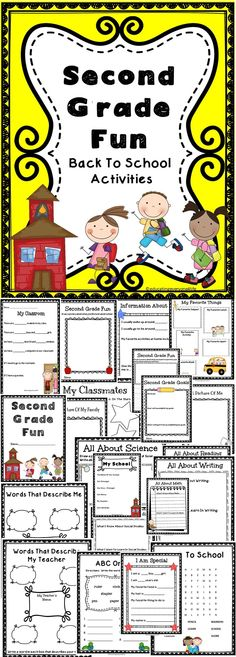 Second Grade Fun - Back To School Activities For Second Graders. A great All About Me resource to use with your students.  #education
