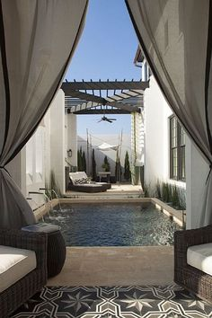 Love the rug and outdoor area Alys Beach House Tour - Design Chic Beach House Tour, Beach Houses, Beach Cottages, Outdoor Rooms, Outdoor Living, Outdoor Curtains, Outdoor Chairs, Gray Curtains, Outdoor Retreat