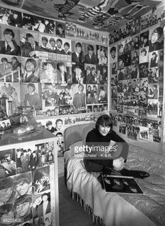 Photo of FANS and BEATLES FANS and TEENAGERS and BEATLES Beatles fan in bedroom surrounded by posters and photos of band teenagers