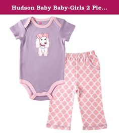 Hudson Baby Baby-Girls 2 Piece Bodysuit and Pant Set, Purple Puppy, 6-9 Months. Hudson Baby premium layette collection of high quality cute baby clothing features 100 percent premium cotton for the softest touch on your baby's gentle skin. This bodysuit and pant set are essential to any baby's wardrobe. This set is so comfortable and versatile. Bodysuits can be worn together with pants or by themselves. R. The one-piece design bodysuit with snaps makes for no fuss dressing and easy diaper...