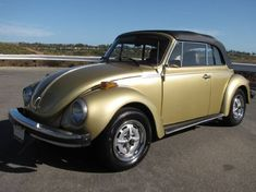 Example of Havest Gold paint on a 1974 Volkswagen Beetle