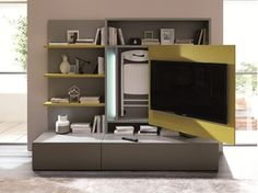 Mueble modular de pared composable con soporte para tv SMART LIVING - Ozzio…