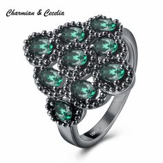 >> Click to Buy << Vintage Black Gun Plated Pave Setting Glass Rings for Women Jewelry Party 4 Colors Available Cocktail Ring for Wedding Gift #Affiliate