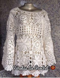 * Pérolas do Crochet: Blusa em crochet Modelo Selena