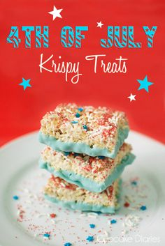 4th of July Krispy Treats (use #glutenfree rice krispies)