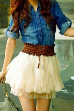 poufy skirt, big brown belt and denim shirt