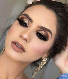 37 Beautiful Neutral Makeup Ideas for the Prom Party # prom # # . - Make Up Welt - Makeup Bride Makeup, Glam Makeup, Wedding Makeup, Smokey Eye Makeup, Eyeshadow Makeup, Face Makeup, Eyeshadow Palette, Gold Eyeshadow Looks, Neutral Eyeshadow