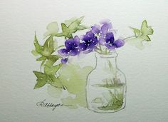 Watercolor Paintings by RoseAnn Hayes: Violets and Ivy Watercolor Painting