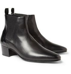 Saint LaurentLeather Chelsea Boots $875.. bigheel!