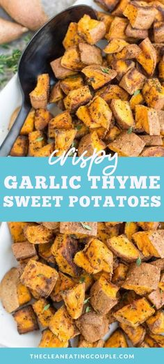 Garlic Thyme Crispy Sweet Potatoes are an easy, yummy side dish! Perfectly roasted potatoes get baked in the oven. They're paleo, Whole30 friendly & go with everything! Made with only six ingredients, and so delicious! Perfect alongside any protein or for meal prepping! #paleo #whole30 #whole30recipes #healthy Easy Whole 30 Recipes, Easy Clean Eating Recipes, Side Dish Recipes, Dishes Recipes, Lunch Recipes, Paleo Side Dishes, Side Dishes Easy, Healthy Gluten Free Recipes, Real Food Recipes